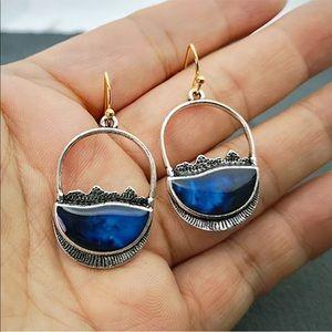 Jewelry - Artisan 925 sterling lapis blue dangle earrings